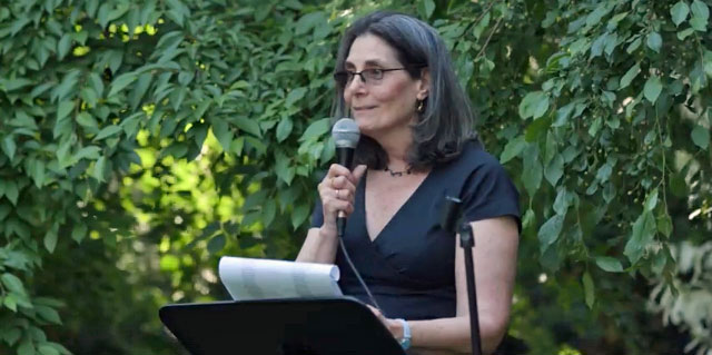 Joyce Klein speaking at graduation